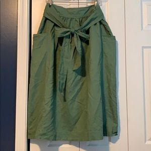 Gap Linen Midi Skirt Size 16 Olive Green